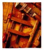 Old Worn Tools Fleece Blanket