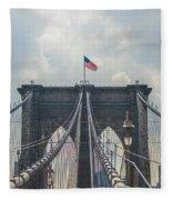 Ole Glory Over Brooklyn Bridge Fleece Blanket