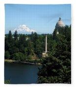 Olympia Wa Capitol And Mt Rainier Fleece Blanket