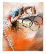 Olympics High Jump Gold Medal Ivan Ukhov Fleece Blanket