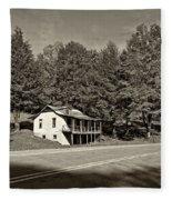 On A West Virginia Road Sepia Fleece Blanket