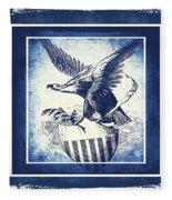 On Eagles Wings Blue Fleece Blanket