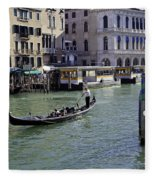 On The Canal In Venice Fleece Blanket