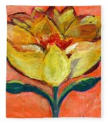 One Yellow Flower And Pinky Peach Behind Fleece Blanket