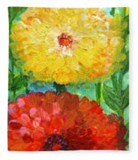 One Yellow One Red And Orange Flower Shines Fleece Blanket