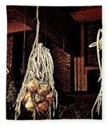Onions Drying Fleece Blanket