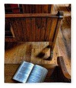 Open Book On Church Pew Fleece Blanket