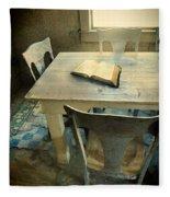 Open Book On Old Table Fleece Blanket