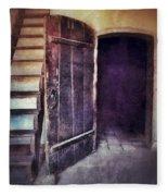 Open Door By Staircase Fleece Blanket