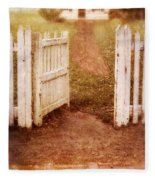 Open Gate To Cottage Fleece Blanket