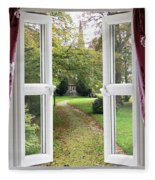 Open Window To A Church Garden Fleece Blanket