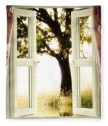 Open Window To Tree Fleece Blanket