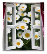 Open Windows Onto Large Daisies Fleece Blanket