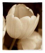 Opening Tulip Flower Sepia Monochrome Fleece Blanket