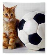 Orange And White Kitten With Soccor Ball Fleece Blanket