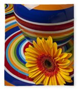 Orange Daisy With Plate And Vase Fleece Blanket