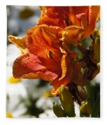Orange Day Lilies In The Sun Fleece Blanket