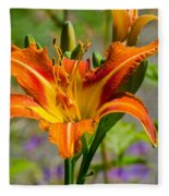 Orange Day Lily Fleece Blanket