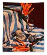 Orange Flowers And Blue Cloth Fleece Blanket