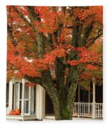 Orange Leaves And Pumpkins Fleece Blanket