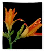 Orange Lily On Black Fleece Blanket