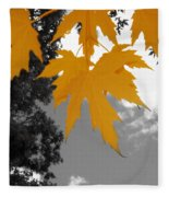 Orange Maple Leaves Fleece Blanket