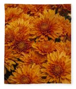 Orange Mums Fleece Blanket
