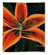 Orange Oriental Lily Fleece Blanket