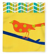 Orange Polka Dot Bird Fleece Blanket