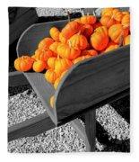 Orange Pumpkin Harvest Fleece Blanket