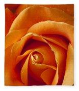 Orange Rose Close Up Fleece Blanket