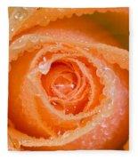 Orange Rose With Dew Fleece Blanket