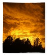 Orange Stormy Skies Fleece Blanket