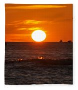 Orange Sunset I Fleece Blanket