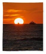 Orange Sunset II Fleece Blanket