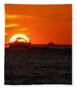 Orange Sunset IIi Fleece Blanket