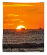 Orange Sunset V Fleece Blanket