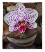 Orchid On Stack Of Rocks Fleece Blanket