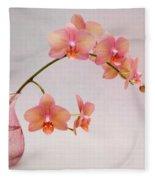 Orchids In A Pink Vase Fleece Blanket
