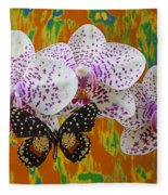 Orchids With Speckled Butterfly Fleece Blanket