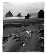 Oregon Coast Black And White Fleece Blanket