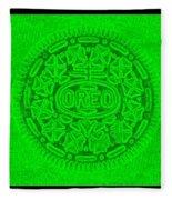 Oreo In Green Fleece Blanket