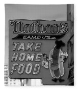 Original Nathan's In Black And White  Fleece Blanket