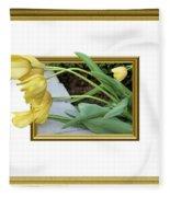 Out Of Frame Yellow Tulips Fleece Blanket