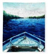 Out On The Boat Fleece Blanket