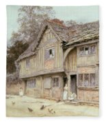 Outside A Timbered Cottage Fleece Blanket