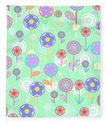 Overlayer Flowers  Fleece Blanket