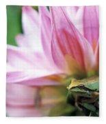 Pacific Tree Frog In A Dahlia Flower Fleece Blanket