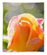 Paint Daub Yellow Rose Fleece Blanket