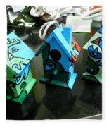 Painted Birdhouses Fleece Blanket